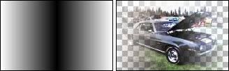 Линейный (отраженный) градиент в цветном и прозрачном режимах